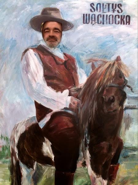 Sołtys Wąchocka na koniu - przodem