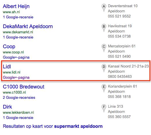 Supermarkt in Apeldoorn op Google+