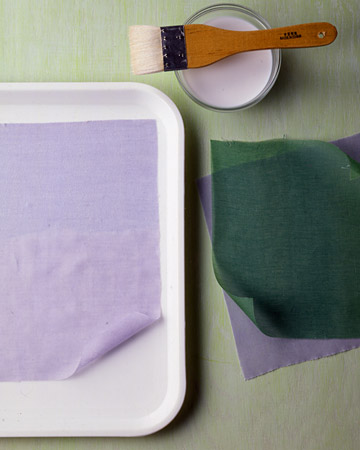 To prepare your fabric for punching: Lay a piece in a shallow tray. With a medium paintbrush, apply enough fabric stiffener to saturate, but not soak, the fabric. Let it dry, about 1 hour. Repeat with any remaining fabric.