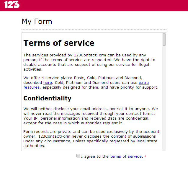 How to to an agreement request to web form for Terms and conditions of service template