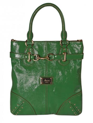 yeşil rugan çanta modeli