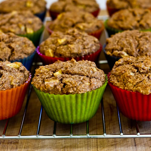 Made-from-Scratch Low-Sugar and Whole Wheat Bran Muffins with Apple and Walnuts found on KalynsKitchen.com