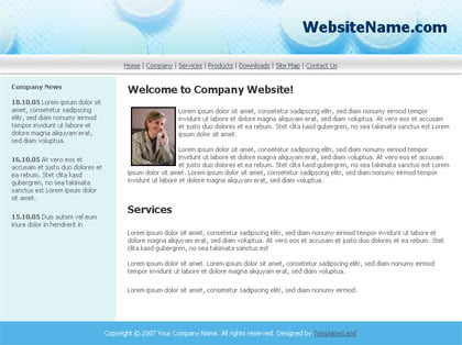 free html simple blue hospital company template