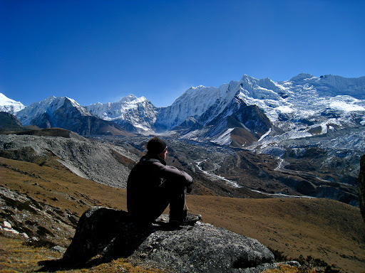 Hiking near Chukchung, Nepal in the Himalayas