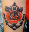 anchor and rose tattoo Ideas 1