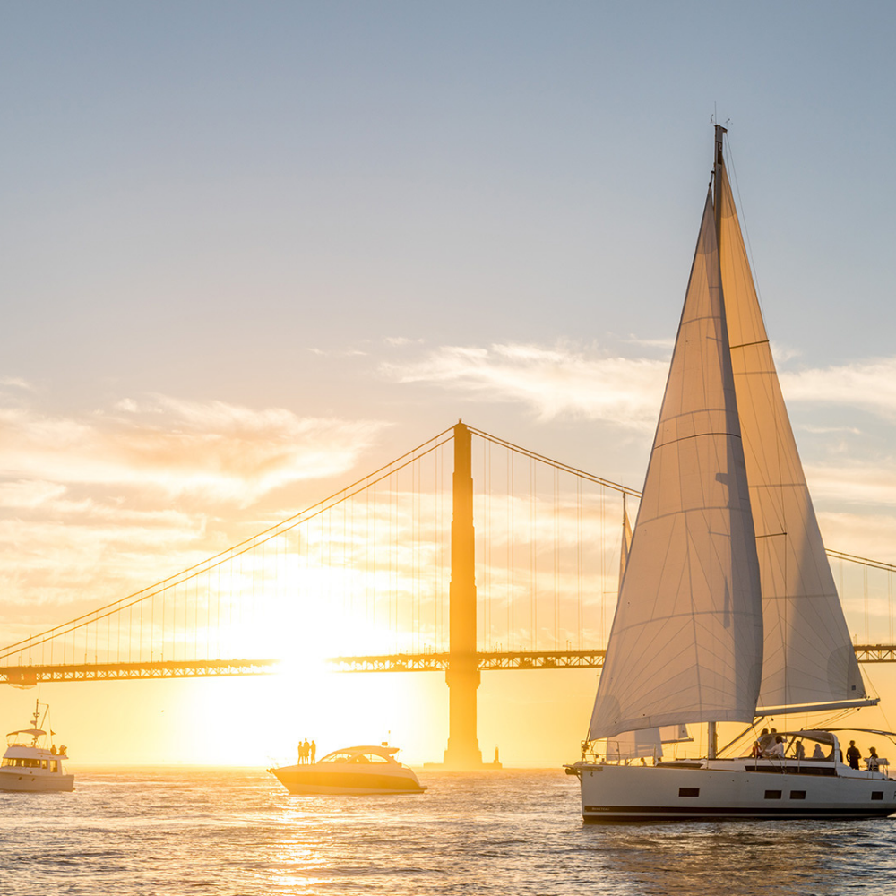 A catamaran cruise at sunset near the Golden Gate Bridge