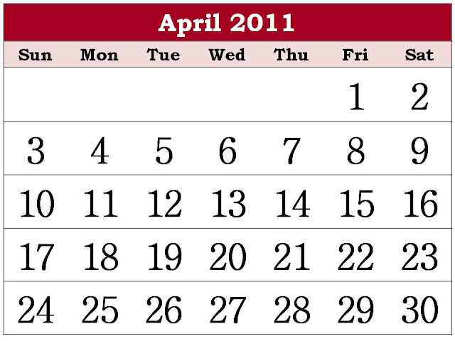 calendar 2011 march and april. Calendar 2011 March and April