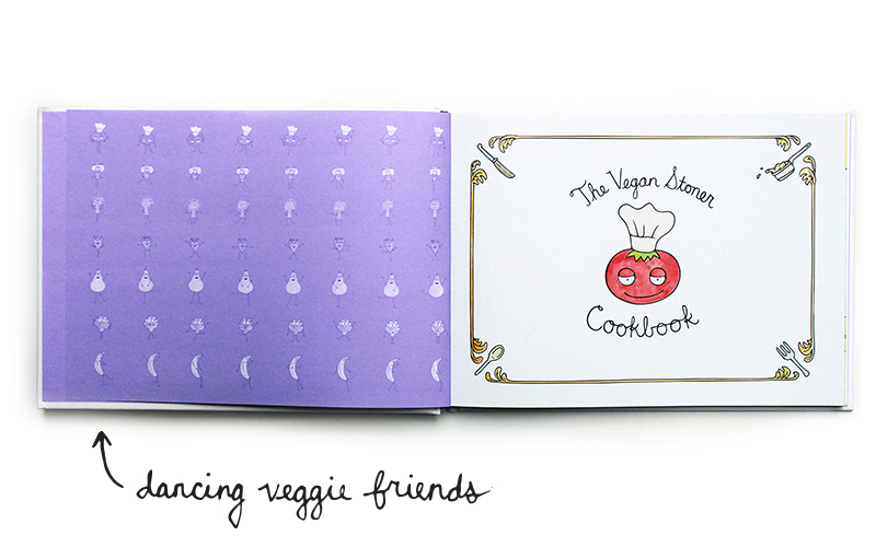 Inside cover with dancing veggie friends