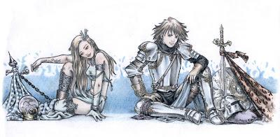dibujo coloreado con lápices de colores hecho por ªRU-MOR de fantasía, en que podemos ver a un caballero medieval sentado junto a una guerrera.