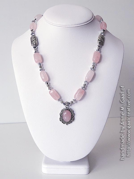 Pink Quartz and Swarovski Crystal Necklace with Pink Quartz Cabachon Pendant handmade by Anne Gaal of http://www.gaalcreative.com