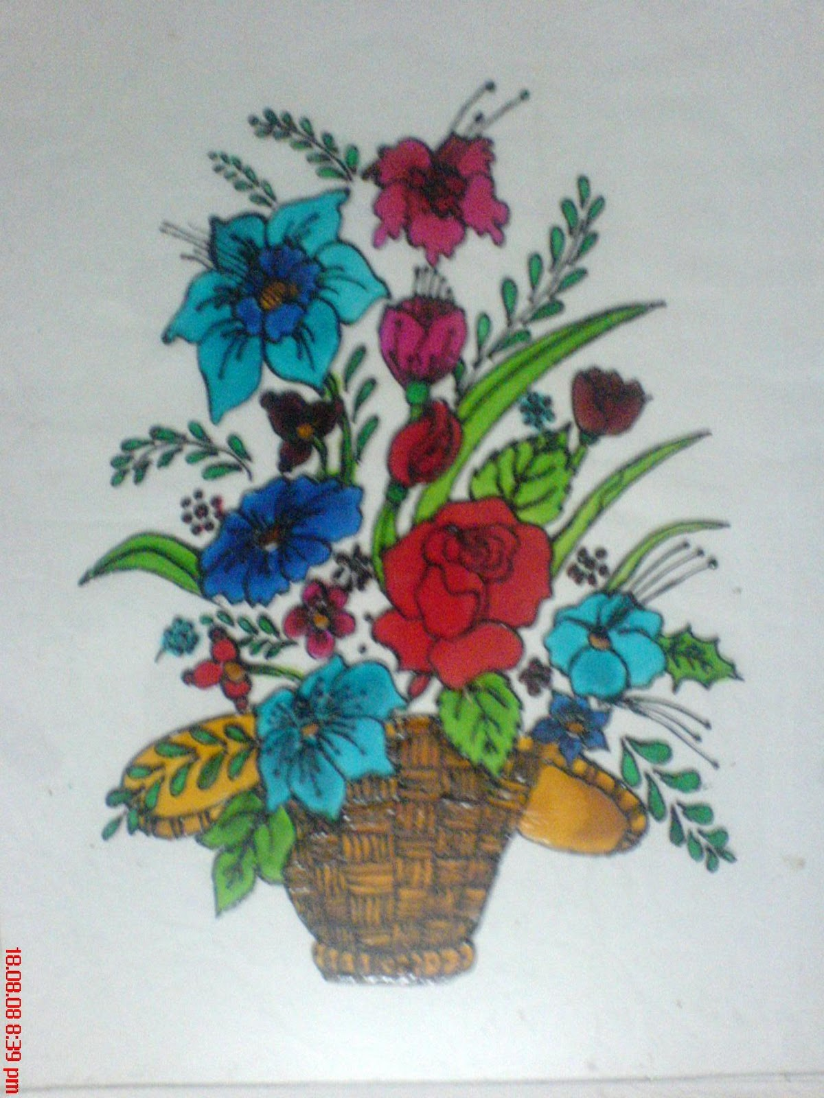 painting on glass   Flowers-glass painting - Pencil ...