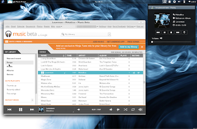 Google Music Frame Fedora Gnome Shell