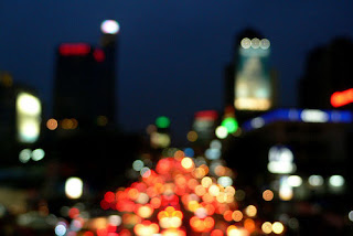 Bokeh of blurred city lights