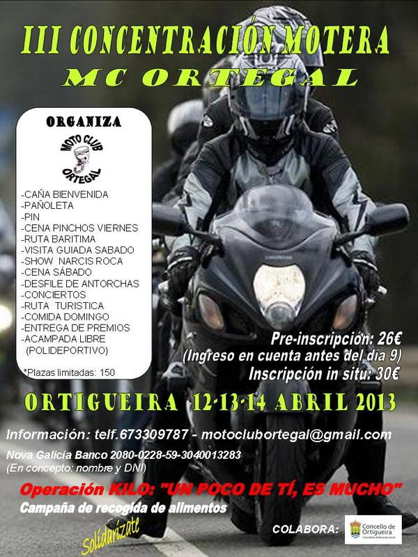 Cartel III Concentración Motera MC ORTEGAL 2013