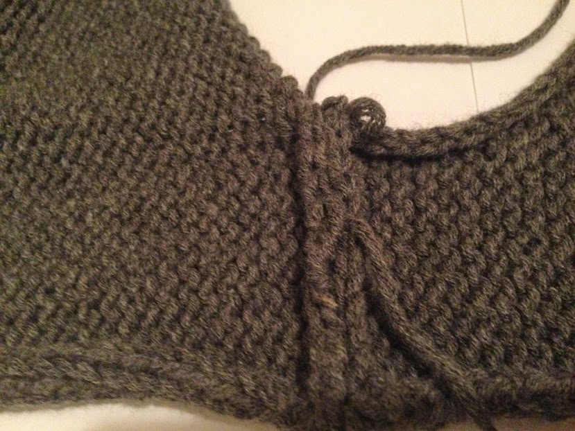 Completed shoulder seam with mattress stitch, wrong side.