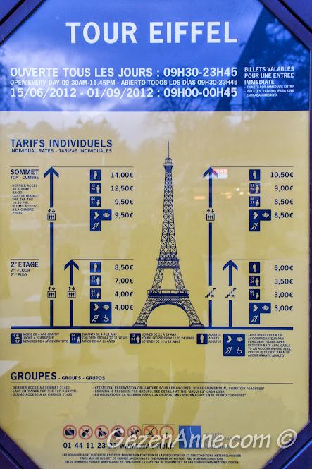 Eiffel kulesinin değişik katlarına merdivenle ve asansörle çıkış tarifesi, Paris