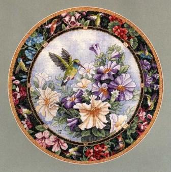 Hummingbirds and flowercross stitch pattern