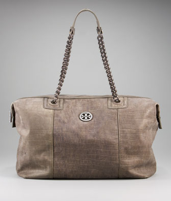 Tory Burch McLane Tote in Clay; croc embossed leather
