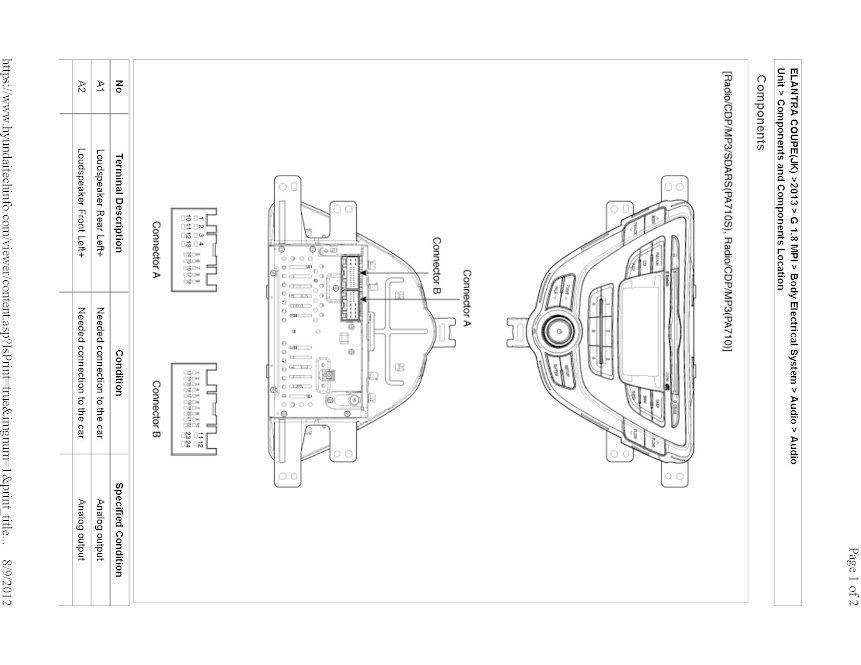 Hyundai Elantra Radio Wire Diagram For 2013 Hyundai Free