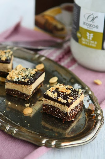 Triple Layered Protein Bars With Peanut Butter And Chocolate
