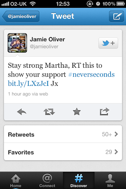 Jamie Oliver shows his support for Martha Payne on Twitter