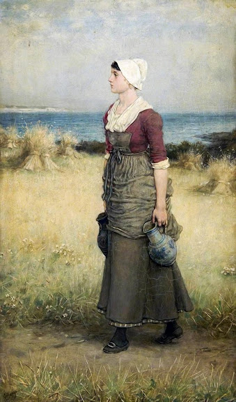 George Henry Boughton - Girl with Pitchers, Summer Scene