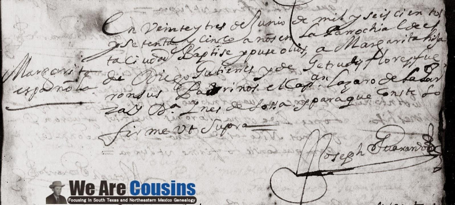 Margarita Gutierrez FamilySearch Monterrey Baptism 1675 Pg 35