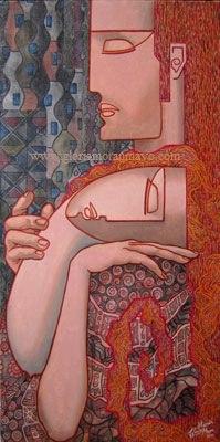 Pintura en acrílico Amantes de Gloria Morán Mayo