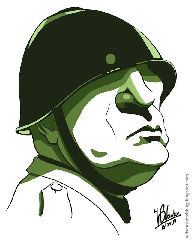 Cartoon caricature of Benito Mussolini, using Krita.