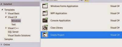 VS Express 2013 for Desktop : Project Types - Visual C# Windows options