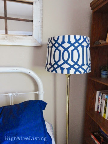 Now I just need to clean the rest of the room my Halloween costumes for this year are everywhere trying to keep them out of reach of the little people. & High Wire Living: guest room: lamp shade and a $5 mirror makeover