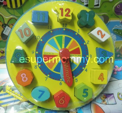 wooden toys building clock