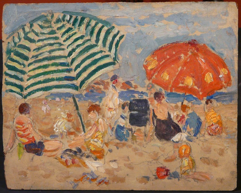 Gifford Beal - Coastal Beach Scene with Umbrellas