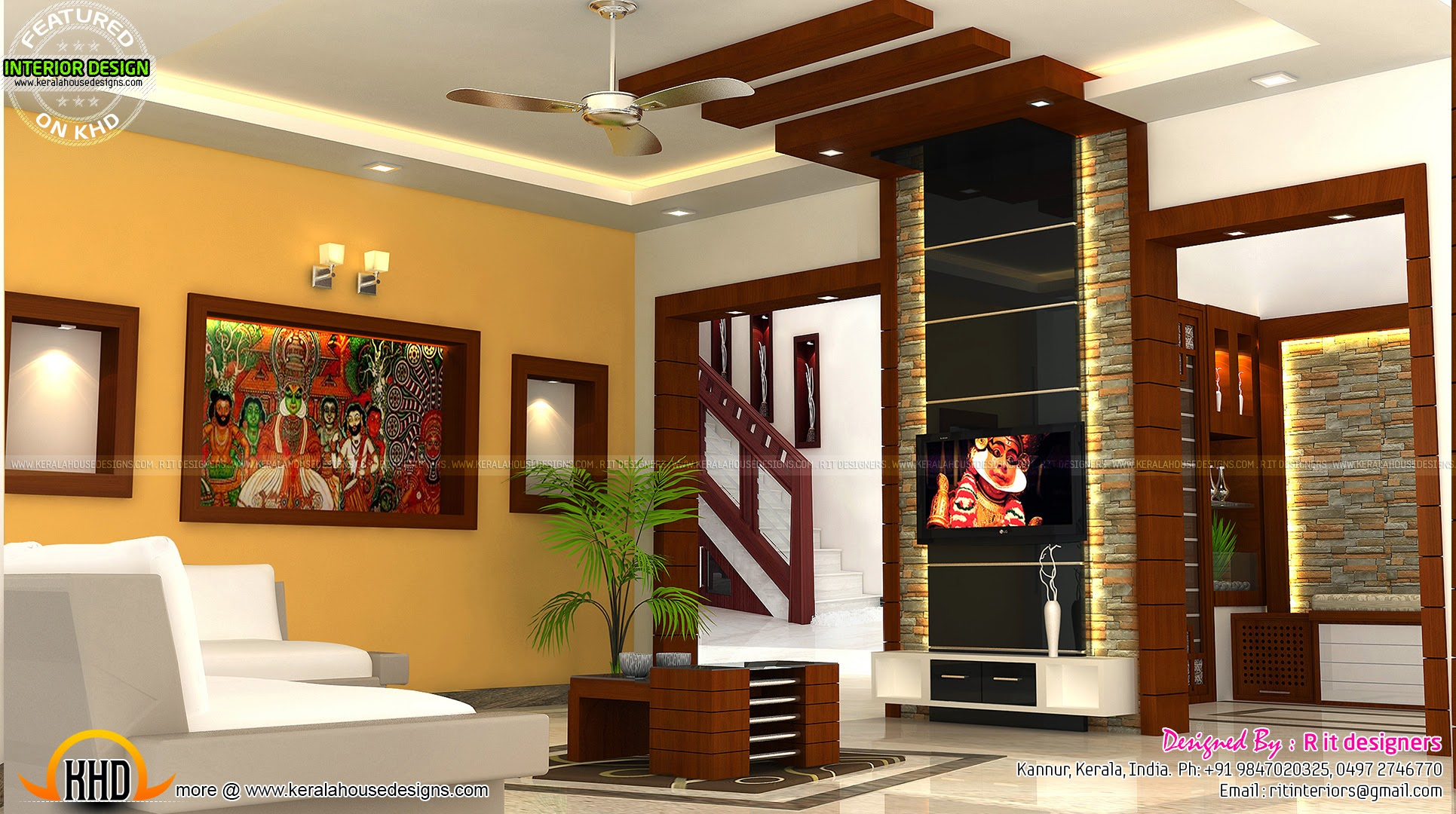 Kerala interior design with cost kerala home design and for Living room interior in kerala