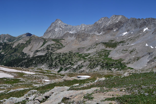 looking back over the high meadows and even to Capitol Peak