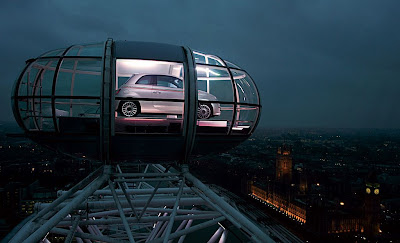Fiat 500 on top of London