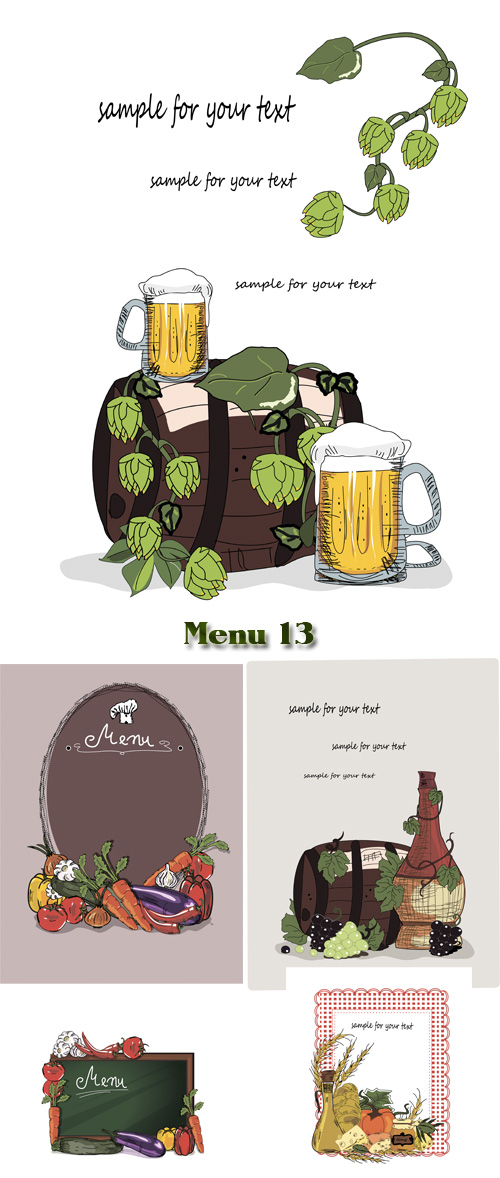Stock: Menu for beer, wine and vegetable dishes