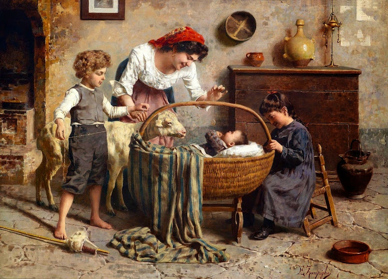 Eugenio Zampighi - Idyllic family scene with newborn