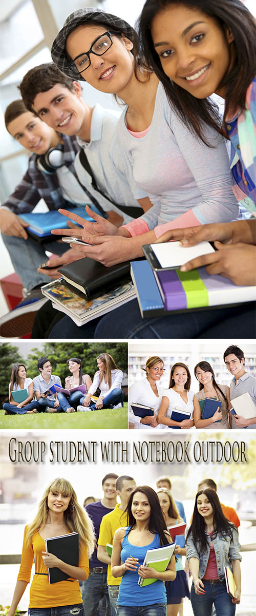 Stock Photo: Group student with notebook outdoor
