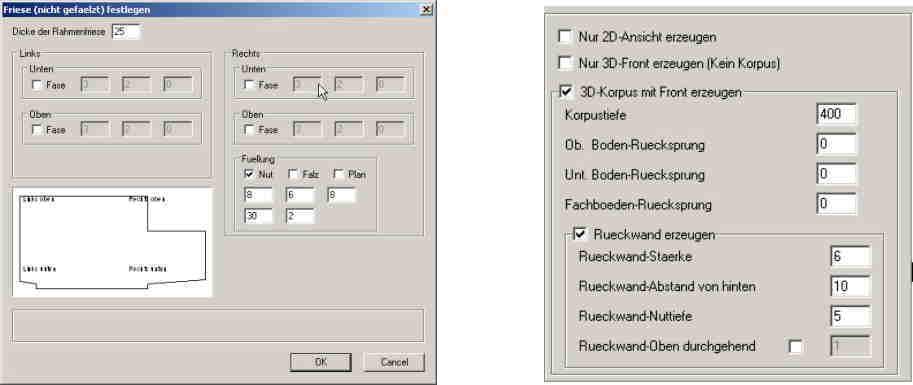 ElementsCAD - weitere Dialoge für Polyschrank