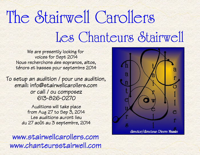 Audition for the Stairwell Carollers, Ottawa area, Ontario, Canada