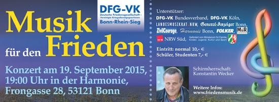 Konzert-Banner: »Musik für den Frieden, Konzert am 19. September 2015 ...«.