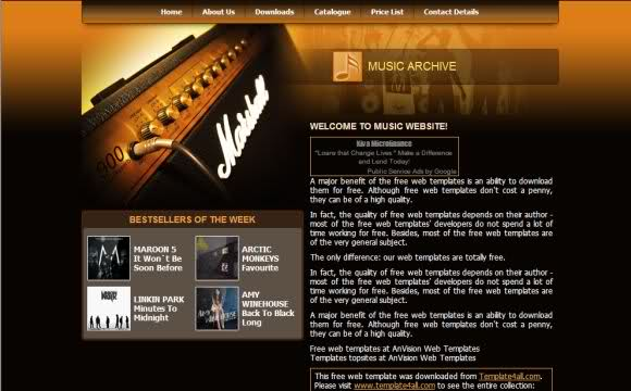 Free Web Music School Website Template - Music website templates