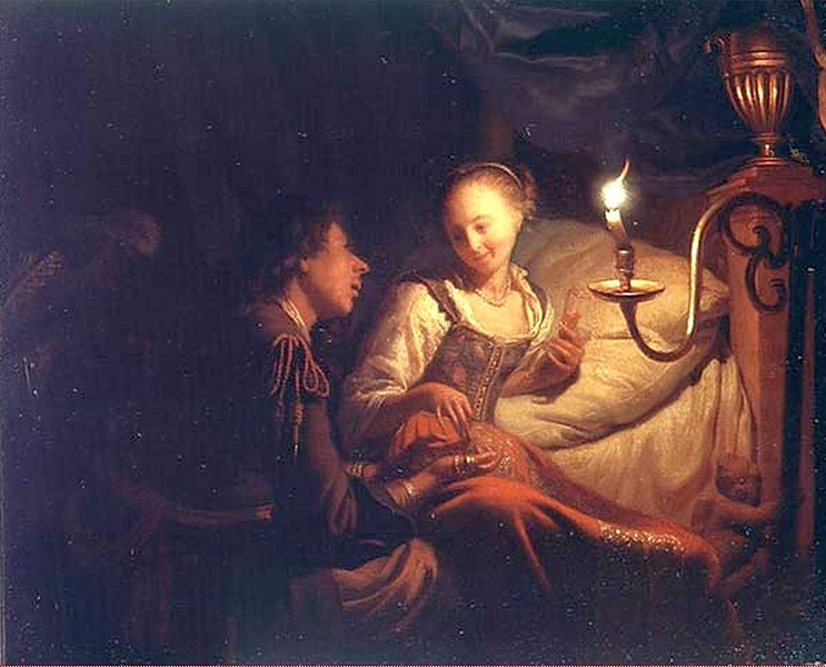 Godfried Schalcken - A Candlelit Scene. A Man Offering a Gold Chain and Coins to a Girl Seated on a Bed