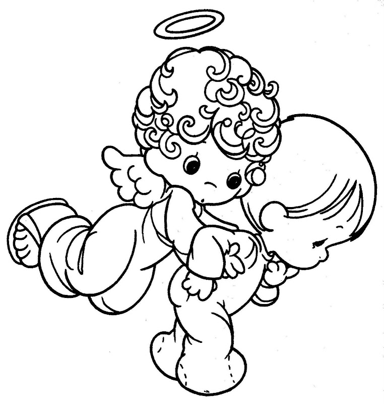 guardian angel coloring pages - guardian angel free precious moments coloring pages