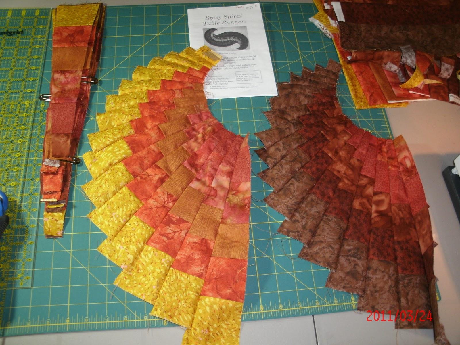 The Magic Of Quilting Start Of The Spicy Spiral Table Runner