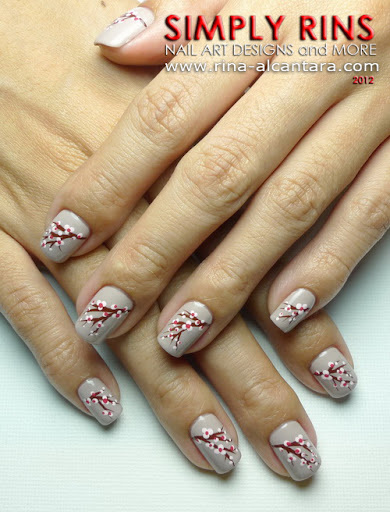 Cherry Blossoms Nail Art Design