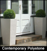 Polystone Black and White Resin Planters