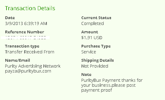 puritybux proof of payment payza