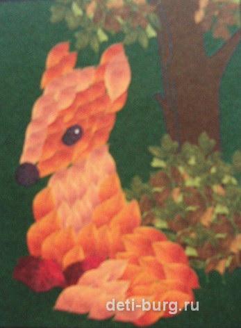 лисичка-сестричка детская поделка из листочков